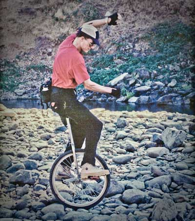 George Peck taking on the Confluence river rock in 1996. No hands!