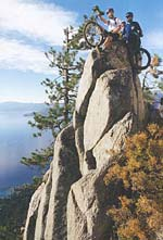 Nathan Hoover and Geoffrey Faraghan high above Lake Tahoe