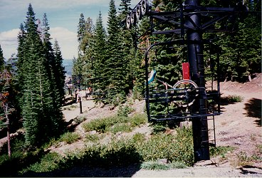 Unicycle on the ski lift